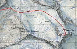 Kort over ruten fra Cabane de Tracuit op over Turtmanngletscher til Bishorn