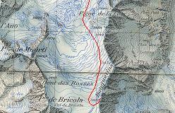 Kort over ruten op over Glacier de Moiry til toppen af Bouquetins