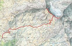 Kort over ruten fra Tignousa til toppen af Rothorn og Bella Tola