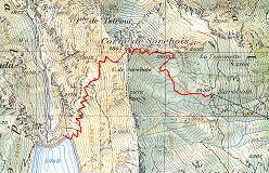 Kort over ruten fra Sorebois over Col de Sorebois og Corne de Sorebois til Moiry