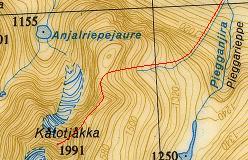 Kort over ruten fra lejrpladsen ved Piegganjira og over Kåtotjåkka NE-grat