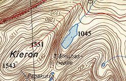 Kort over ruten over Kieron NW-grat