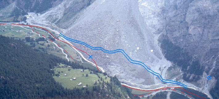 Flodens og jernbanens forløb før Randaskreddet