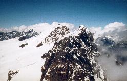 Roccia Nera med de øvrige Breithorn-toppe i baggrunden, set fra Pollux