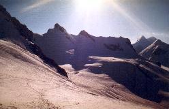 Breithorn E, Breithornzwilling og Roccia Nera set fra Breithornpass