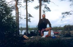 Lejrplads ved søen Flat under vandring på Pilgrimsleden