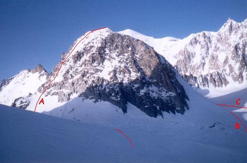 Aiguille de Toule set fra omegnen af Col des Flambeaux.