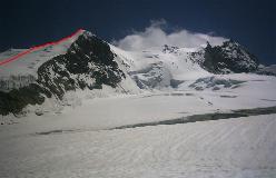 Den øverste del af ruten på Bishorn set fra omegnen af Cabane de Tracuit