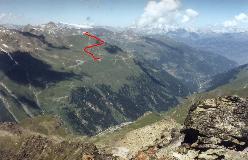 Ruten fra Sorebois til toppen af Corne de Sorebois set fra Pointe d'Ar Pitetta