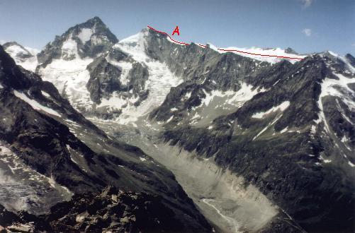 Dent Blanche og Grand Cornier set fra Pointe d'Ar Pitetta