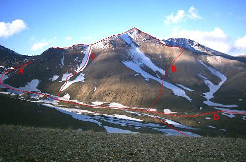 Den ukendte top ved Sabalan Kouh set fra gratryggen ovenfor Alvarez pisteski.