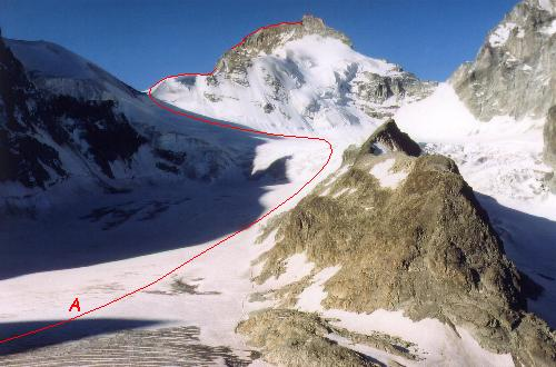 Pointe de Zinal med Roc Noir i forgrunden set fra Cabane du Mountet