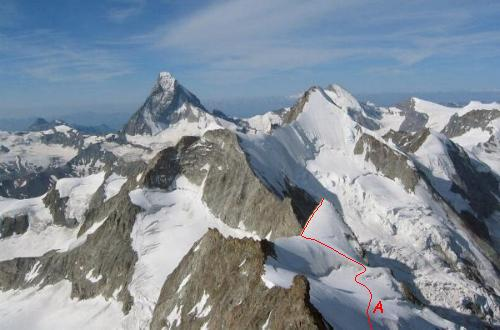 Trifthorn med Matterhorn og Ober Gabelhorn i baggrunden set fra toppen af Zinalrothorn